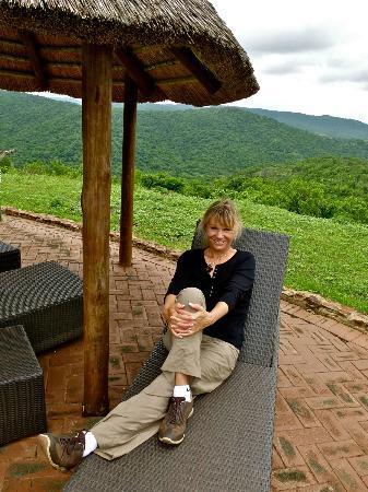 Zulu Nyala Game Lodge: Relaxing on the patio, enjoying the view.