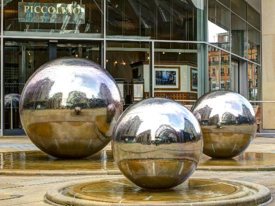 Sheffield Winter Garden: The famous balls, found just outside the Winter Gardens