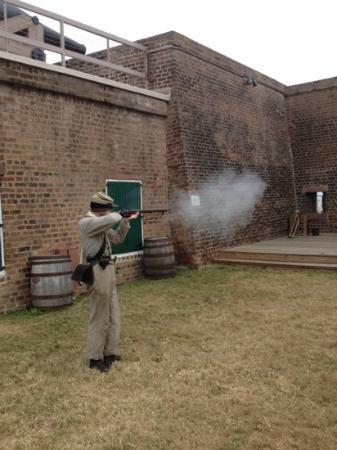Old Fort Jackson: Bradford firing his musket.