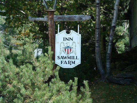 Inn at Sawmill Farm: The vintage sign that welcomes you