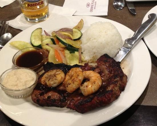 Juno: Ribeye topped with grilled shrimp. I chose to have Jasmine rice with mine.