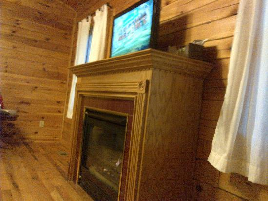 Cedar Grove Lodging: Fireplace/TV