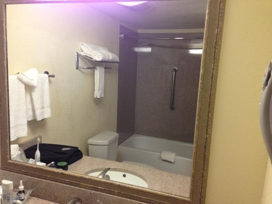 Quality Suites Tempe: bathroom with fairly new faux marble shower surround