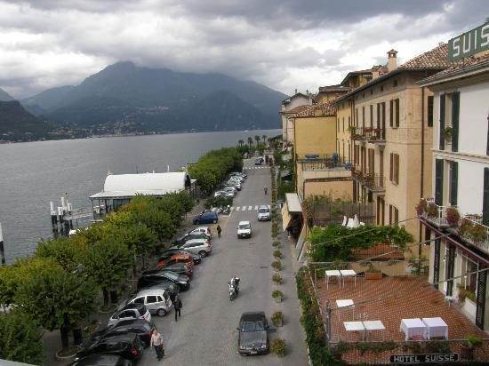 View of piazza & Lake Como from Rm 331 balcony, Hotel Metropole Bellagio, Bellagio, Italy