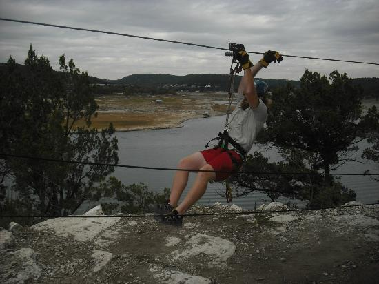 Lake Travis Zipline Adventures: Nick, heading toward the next platform