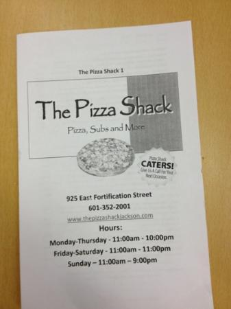 The Pizza Shack: Menu Cover