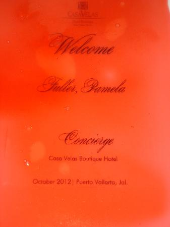 Casa Velas: Welcome sign under a slab of jello on plate unique!