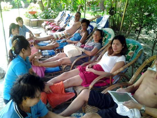 The Oriental Village Chiang Mai: our group getting a foot massage after the hot springs soak