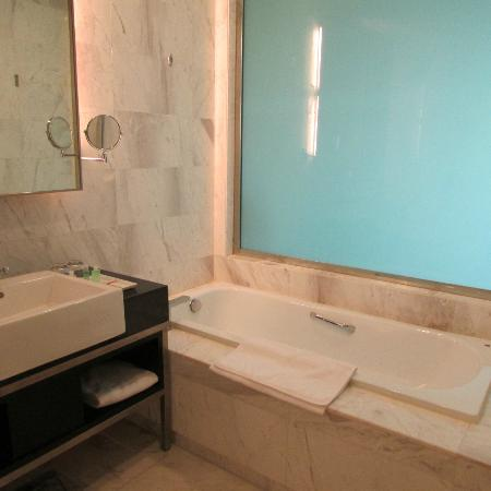 Century Kuching Hotel: A partition that separate the bed & bathroom