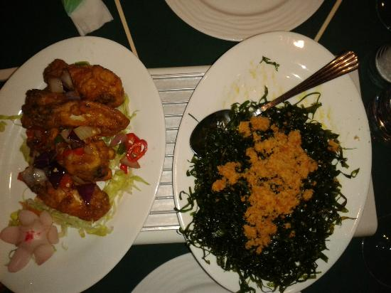Cool Jade: seaweed starter and chilli wings of fire