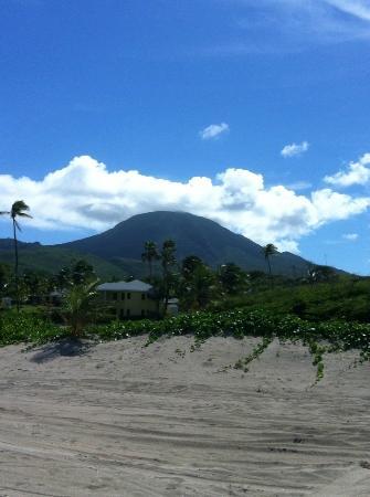 Nisbet Plantation Beach Club: Mt Nevis from Nisbet Beach