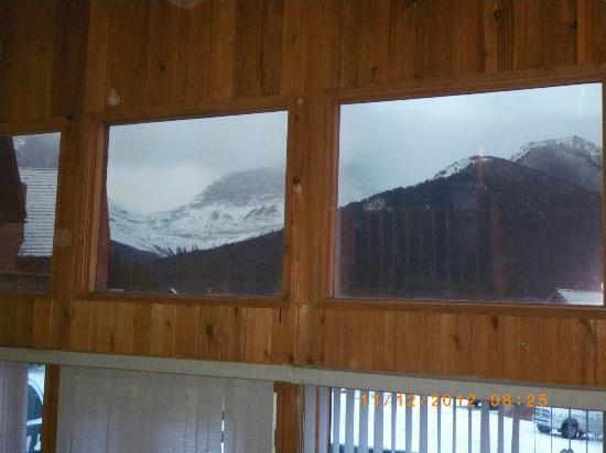 Banff Gate Mountain Resort: view out the top windows of our chalet