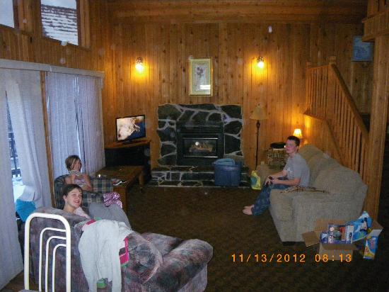 Banff Gate Mountain Resort: living room with gas fireplace