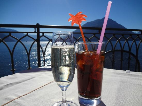 View of Lake Como from deck at Hotel du Lac, Varenna