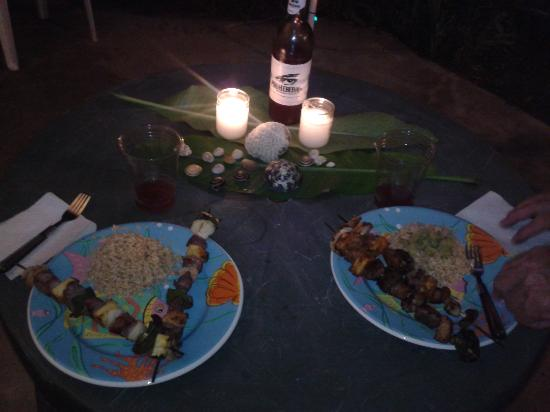 EV's Vacation Rentals Rincon Puerto Rico: my dinner at Evs from grill made by justin