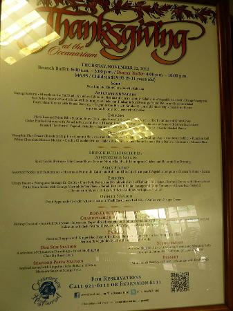 Pacific Beach Hotel: Oceanarium menu.