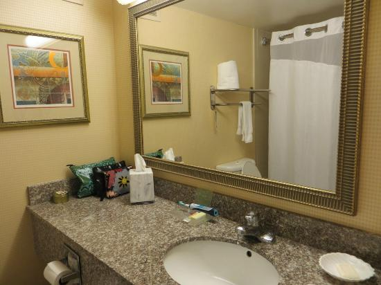 Holiday Inn San Antonio Riverwalk: Bathroom after we moved out coffee maker & Ice Bucket