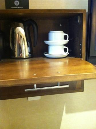Grange Langham Court: tea cabinet but unsafe for boiling water to sit here in compact space