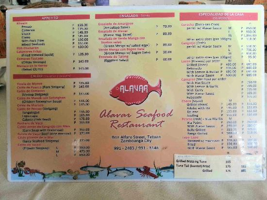 Menu picture of alavar seafood restaurant zamboanga for Terrace 33 makati menu
