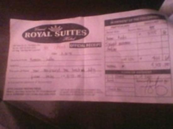 Grand Royal Suites: the reciept
