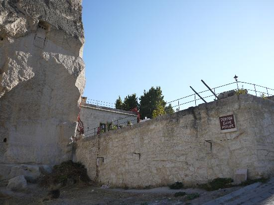 Dervish Cave House: View from street, terrace