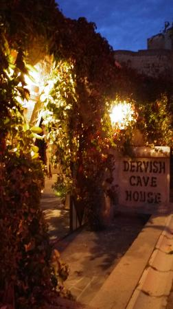 Entrance To Dervish Cave house at night