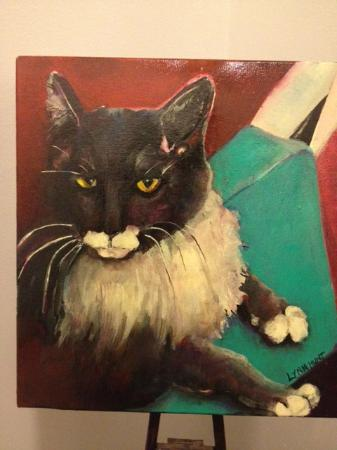 King George Inn: One of Lynn's paintings that she did of her friend's cat!