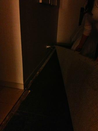 The Westin Michigan Avenue Chicago: Carpet torn with nails and tacks exposed