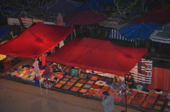 Indigo House: Night market view from balcony (goat room)