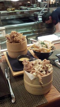 Fade Street Social : Popcorn Chicken in front, squid behind left and fries special behind right