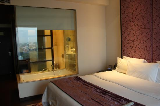 Hotel Royal Orchid, Jaipur: glass wall between the bed and the tub !