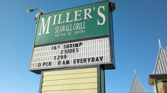 Miller's Seawall Grill: sign out front