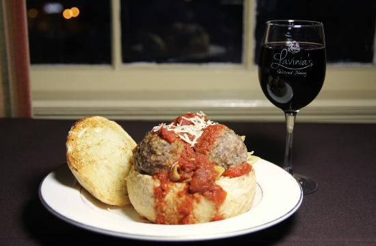 Lavinia's: Penne and Meatballs in a Garlic Bread Bowl