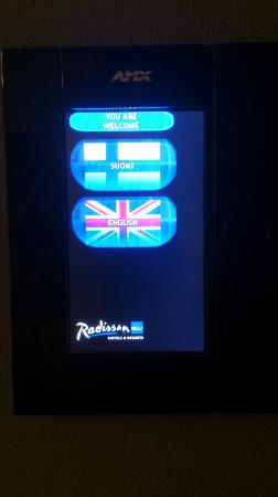 Radisson Blu Plaza Hotel, Helsinki: Control panel language selector