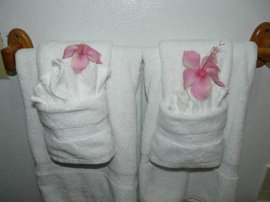 Ranguana Lodge: Fresh flowers on our towels every morning.