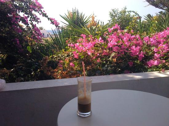 Galini Pension: On my balcony having my coffee...;)