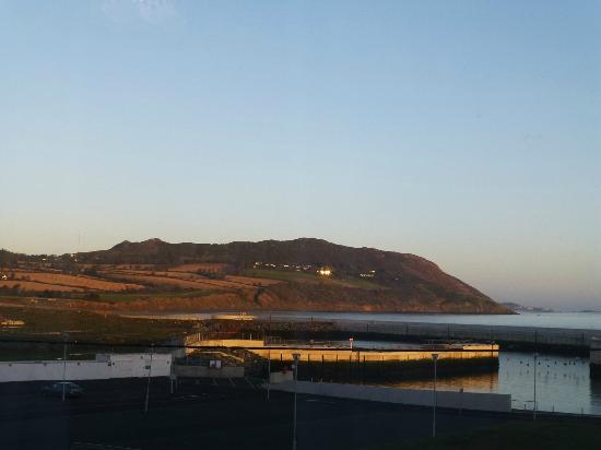 Slievemore House: view from room of harbour (zoom used)