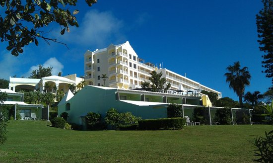 Elbow Beach, Bermuda: exterior of hotel from below