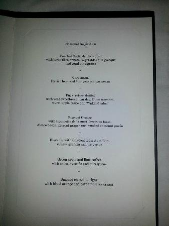 Restaurant Gordon Ramsay : Menu