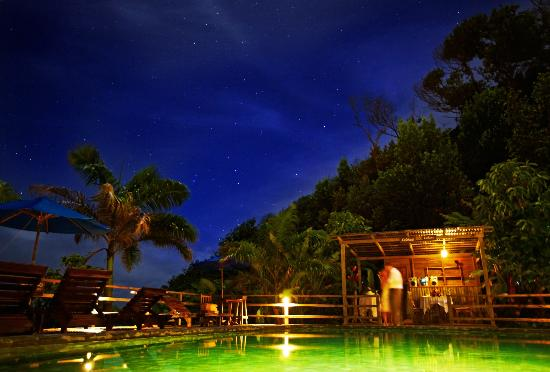 Jungle Bay, Dominica: Jungle Bay pool by night