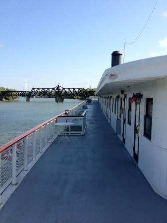 Delta King: Top deck, river view