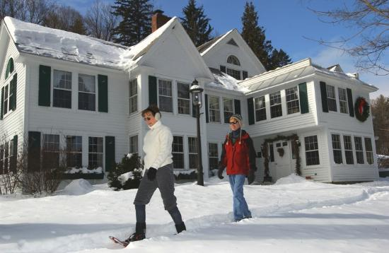 West Mountain Inn: Off to our 150 acres of private snow shoe & cross country ski trails