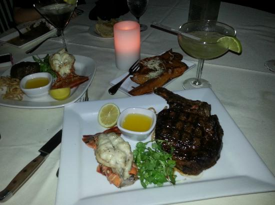 Cruz Bay Prime: Cowboy steak and lobster tail