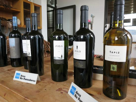 Club Tapiz Hotel: some of the wines on offer