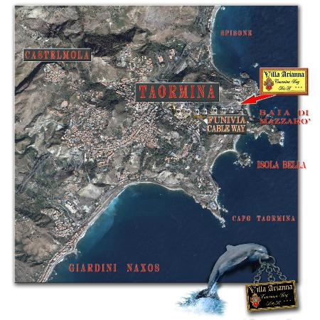 Villa Arianna: map+sat_TAORMINA MAZZARO'