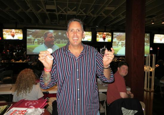 Yankee Doodles: Half time raffle downstairs, with TVs in the background.