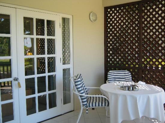 Calabash Luxury Boutique Hotel & Spa: Room 26 Terrace, table set for breakfast