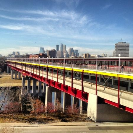 Minneapolis and Washington ave bridge. view from Weisman art museum