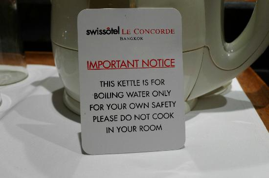 Swissotel Le Concorde Bangkok: Notes to user