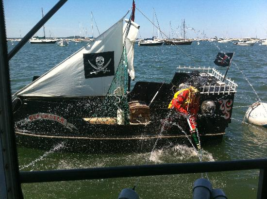 Plymouth Cruises aboard Lobster Tales: Shooting cannons at the enemy